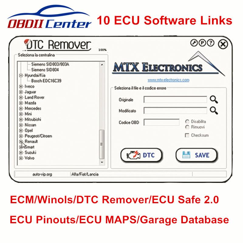 10 ECU Software Links DTC Remover ECM Titanium Winols For KESS V2 KTAG ECU Safe DPF/EGR/FLAP+CRACK Garage Database Software Link