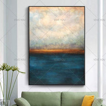 New Decorative Art 100% Handmade Oil Painting On Canvas Modern Abstract Landscape Wall Picture Paintings Living Room Decoracion(China)