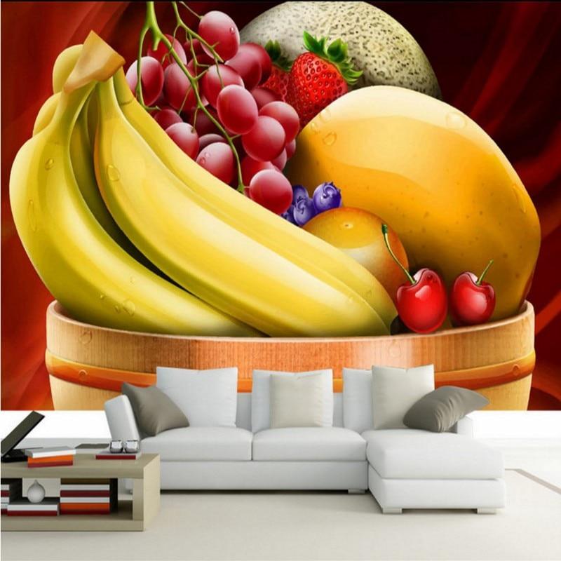 Drop Ship 3d 3D Stereo High Quality Banana Grape Cherry Background Wallpaper Fruit Shop Mall Kitchen Restaurant Lounge Mural