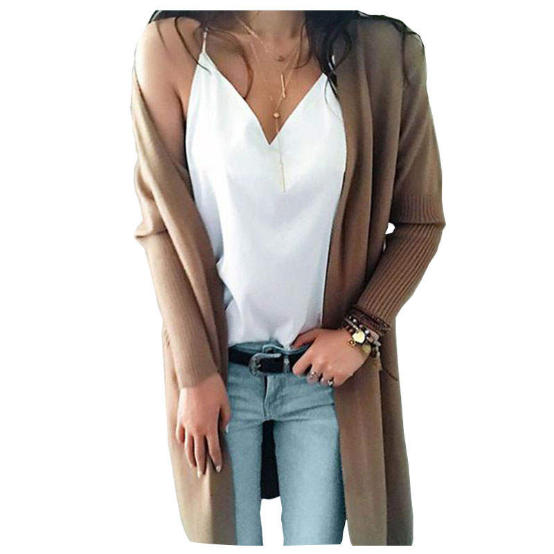 Women's Sweater Long Cashmere Double Pocket Sweater Knit Cardigan