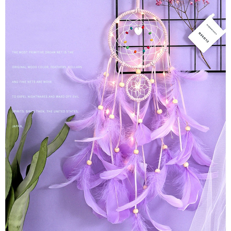 Dream Catcher Led Handmade Dreamcatcher Feathers Night Dream Catchers Ornament Wall Hanging Wind Chimes for Home Room Decoration