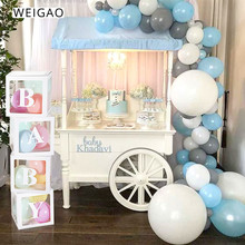 WEIGAO Large BABY LOVE Balloons Transparent Blocks Cardboard Box for Baby Shower Boy Girl Gifts Wedding Decor Storage