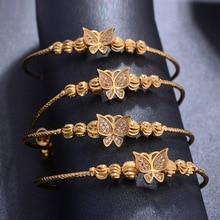 ethnic faux turquoise butterfly bead bracelet for women Wando 4pcs Ethiopian Pattern Gold color Bead Bangles For Women Wedding Bracelet Butterfly Diamond Bangle Bracelet Best Gifts