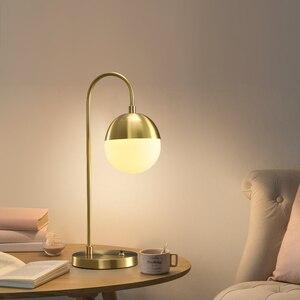 Retro conduziu a luz da parede moderna lâmpada de mesa cobre quarto luz criatividade bola vidro cabeceira conduziu luzes mesa para o quarto