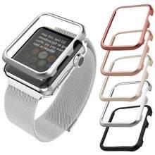 Capa amortecedora para apple watch, cobertura de alumínio para iwatch series 5, 42mm, 38mm, 40mm, 44mm capa protetora do quadro do metal 4 3 2 1