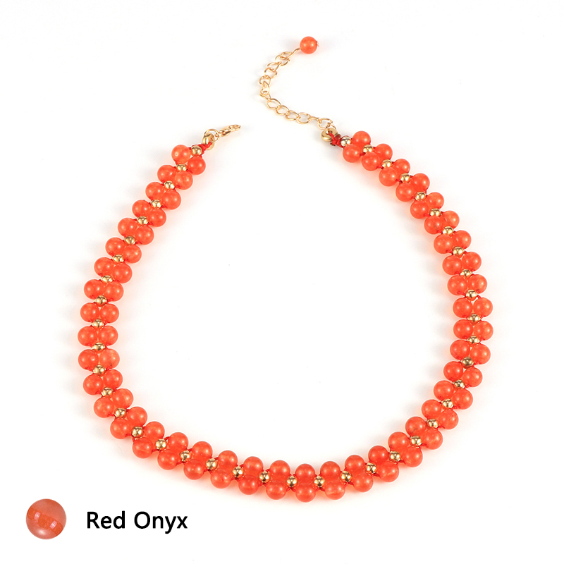 Women Natural Stone Crystal Onyx Choker Necklace Red Wein Stone India Agates Short Clavicle Chain Female Party Jewelry 36cm