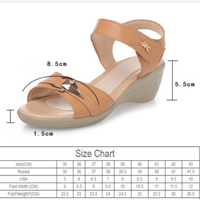 Echt Leer Vrouwelijke Sandalen 2020 Nieuwe Midden-Aged Helling Met Vis Mond Casual Plus Size 35-43 Zomer moeder Schoenen Vrouwelijke