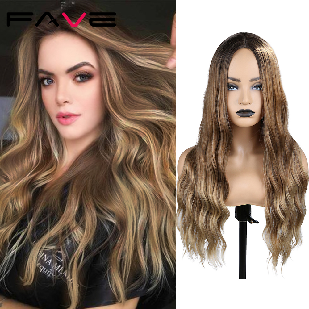 FAVE Ombre Brown To Blonde Twist Braids Synthetic Wigs For Black White Women Middle Part Long Natural Wave Hair Wig 24 Inch