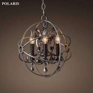 Image 2 - Candelabro de cristal de humo, iluminación Vintage, candelabros de vela negra Orb, luz colgante