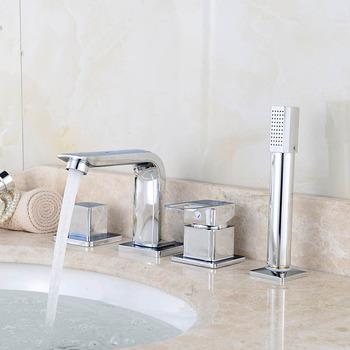 4 sztuk bateria do wanny łazienka umywalka kran prysznic kran zestaw ciepłej i zimnej wody z kranu z Handheld szef prysznic Deck do montażu na ścianie tanie i dobre opinie Współczesna 1906062709 Podwójny uchwyt Brak Zimnej i Ciepłej Dual Holder Dual Control Ceramic