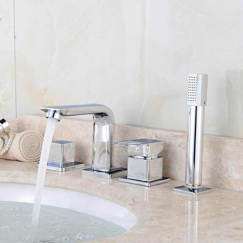 4PCS Bathtub Faucet Bathroom Basin Faucet Shower Tap Set Hot and Cold Water Mixer Tap With Handheld Shower Head Deck/Wall Mount