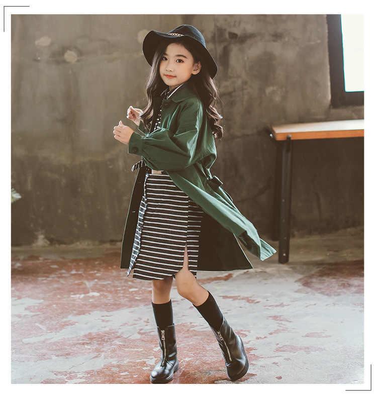 Nieuwe Kinderen Jas Lente Herfst Tiener Bovenkleding Voor Meisjes Kleding Solid Kids Meisje Jassen Mode Lange Trenchcoat