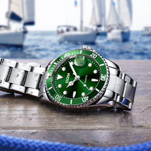 Image 3 - DOM Casual Business Watches Men Green Top Brand Luxury Solid Steel Wrist Watch Man Clock Fashion Waterproof Wristwatch M 1263