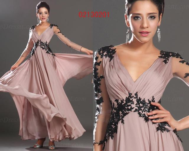 free shipping 2015 new sexy v-neck Long Lace appliques vestido de madrinhaSleeves mother of the bride dresses Party prom Gown 1