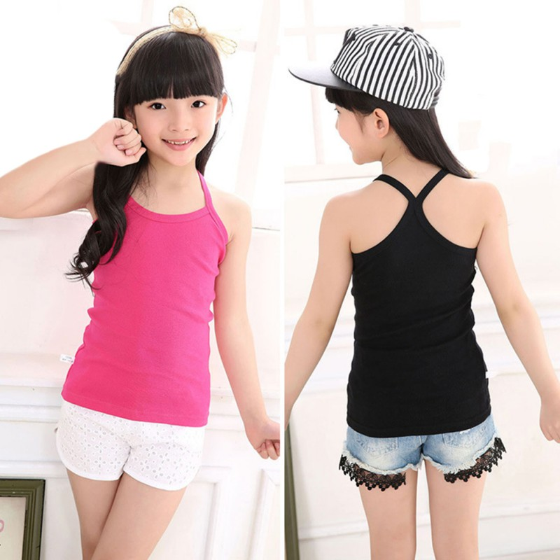 2-10yrs Cotton Girls Vest Colored Kids Camisole Children Tops Summer Baby Singlet Girl Undershirts Teenager Tank E-C010