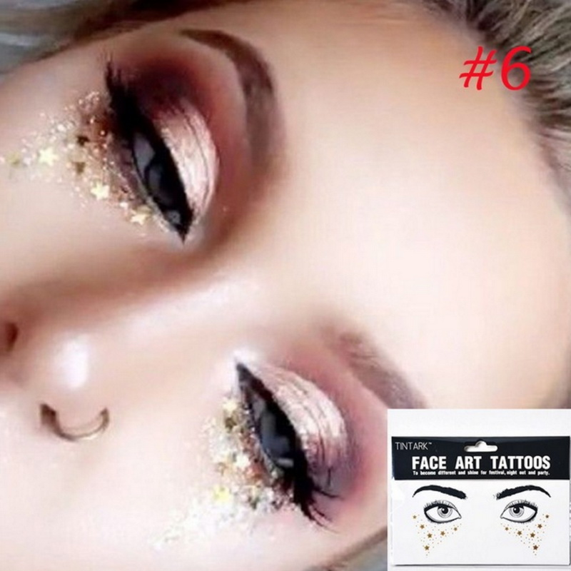 Купить с кэшбэком Flash Tattoo Waterproof Stars Choker Pattern Freckles Gold Face Tattoo Body Art Sticker Eye Decals Bride Tribe Girl Party 1Pack
