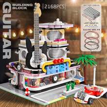 Architecture-Toys Mould King Building-Guitar-Shop MOC Hotel Modular City-Creator Christmas-Gifts