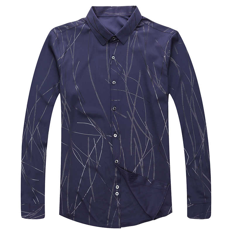 Lente Lange Mouw Mannen Gestreepte Echte Zijde Shirt Koreaanse Zwart Heren Shirts Casual Slim Fit 2020 Camisa Masculina KJ1965