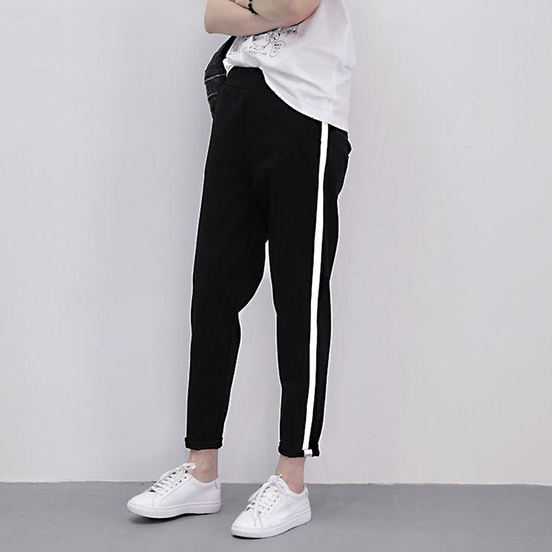 Pants Women Casual Harem Pants Side Striped Sports Trousers Jogger Comfy Splice Female Pants Elastic