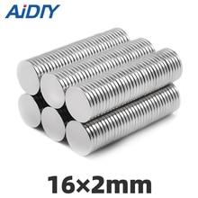 AI DIY 20/50/100Pcs 16x2mm N35 Small Round Neodymium Disc Magnets Diameter 16* 2mm Super Strong Rare Earth Magnet Wholesale