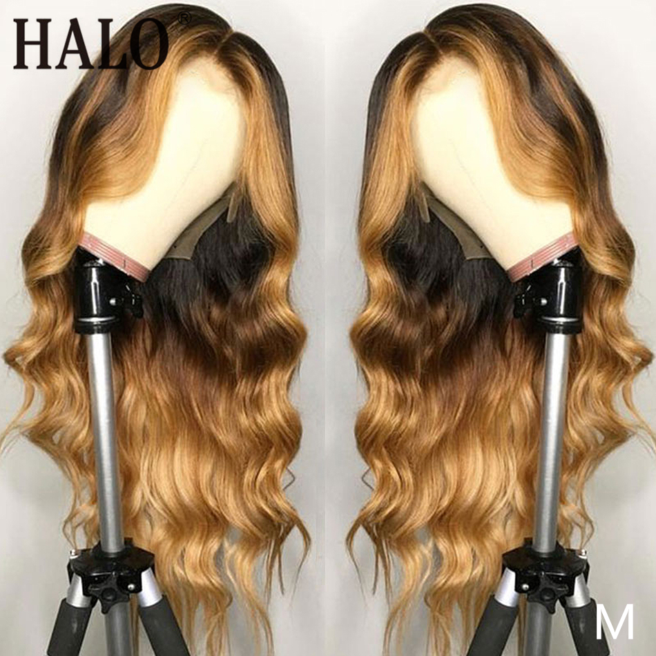 Halo Ombre 4/27 Remy 13x6 Lace Front Human Hair Wigs Body Wave Highlight Pre Plucked Hair Bleached Knot Frontal Wig 150 Density