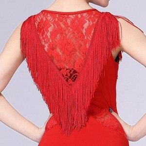 Image 4 - Vestido de baile latino para mujer, Ropa de baile con borlas/Tango/Rumba/traje de baile latino sin mangas, vestido de baile de competencia Latino