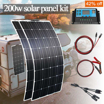 Panel solar monocristalino flexible, 1000w, 100w, 200w, para casa, coche, rv, barco...