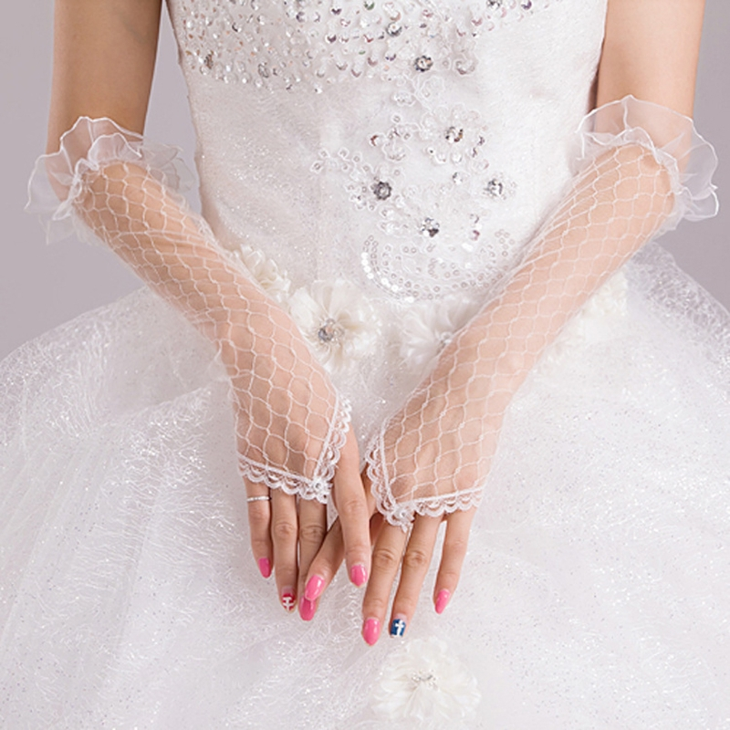 Womens Lace Mesh Bridal Gloves Fingerless Elbow Length Long Gloves Wedding Party AXYD