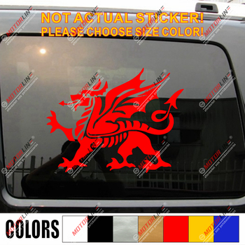 Wales Red Dragon Decal Sticker Welsh Y Ddraig Goch Car Vinyl pick size color d image