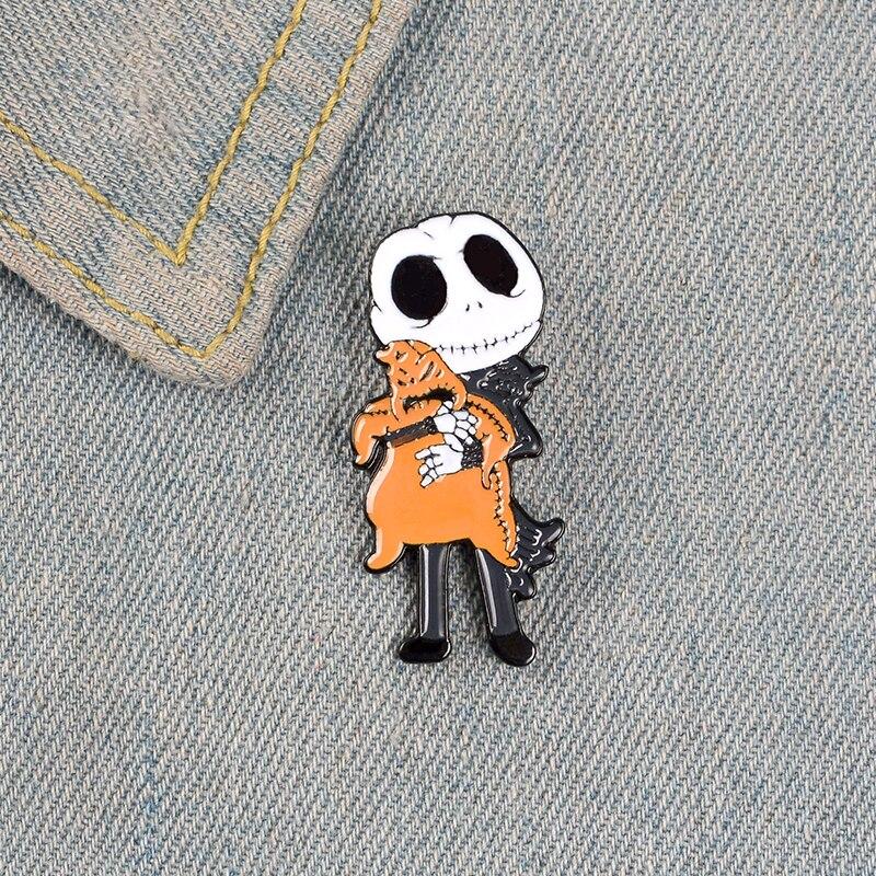 Jack Skellington Enamel Pins Nightmare before Christmas Oogie Boogie Pumpkin King Halloween Movie Jewelry Brooches Lapel Pins 6