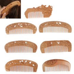 8Styles Natural Peach Wood &Bamboo Wood Healthy No-static Massage Hair Wooden Comb Health Care New Design Wood Comb