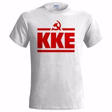 Men T Shirt 100% Cotton Print Shirts KKE LOGO MENS T SHIRT COMMUNIST GREECE GREEK PARTY COMMUNISM FREEDOM ANARCHY Tee Shirt(China)