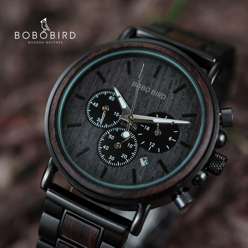 BOBOBIRD Männliche Uhr Holz Männer Armbanduhren Luminous Griff Chronograph Uhr relogio masculino In Geschenk Box