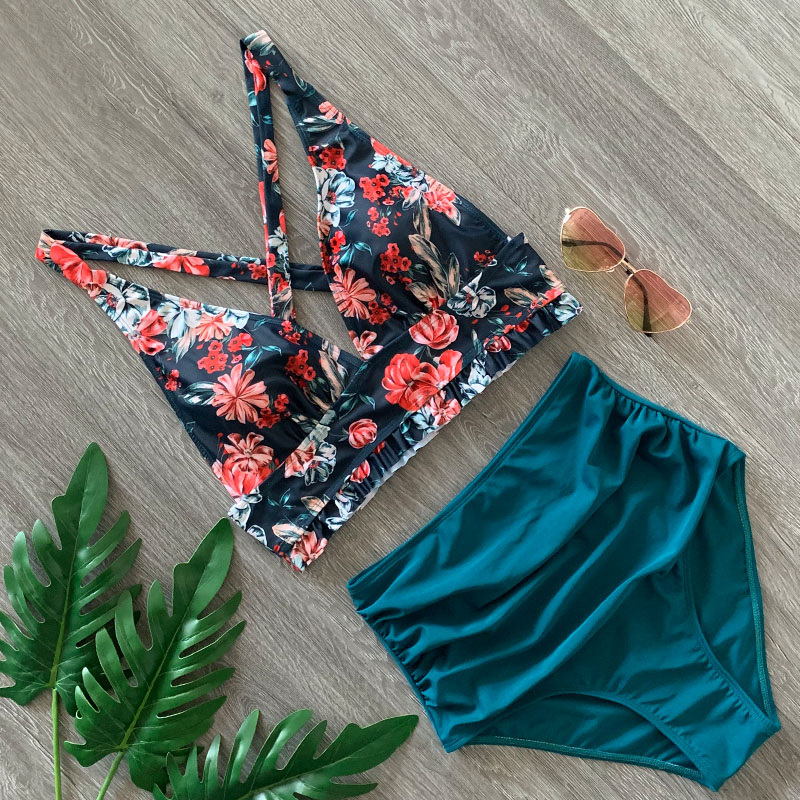 2020 Sexy Bikini Sets Navy And Floral Halter High-waisted Tank Top Swimsuit Two Pieces Swimwear Women Beach Wear Bathing Suits
