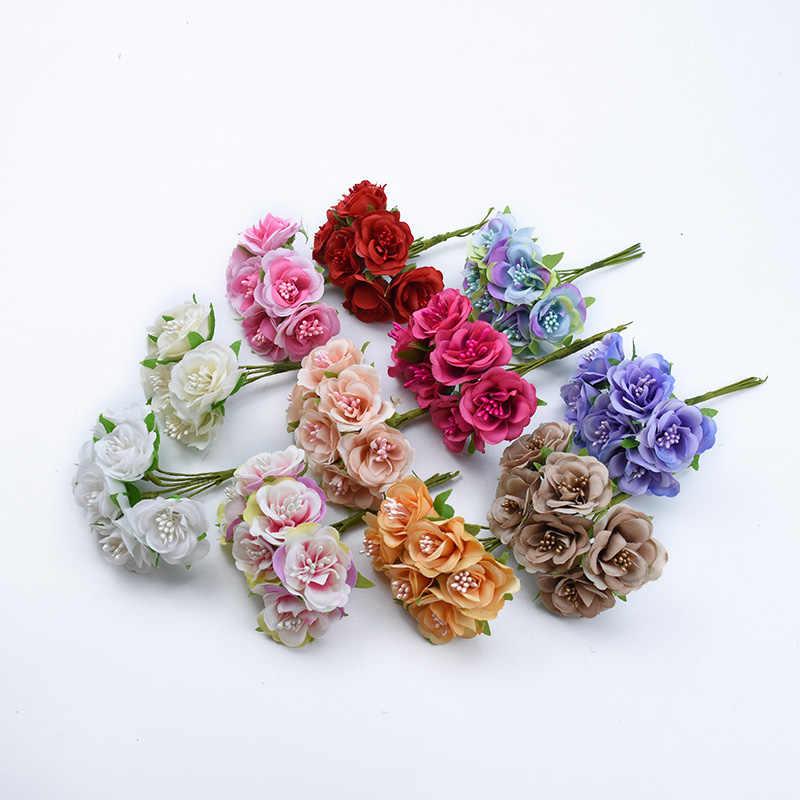 6/18 pezzi Stame rose di seta vasi per la casa decorazione di cerimonia nuziale fiori decorativi ghirlande di trasporto contenitore di regali di natale fai da te fiori artificiali