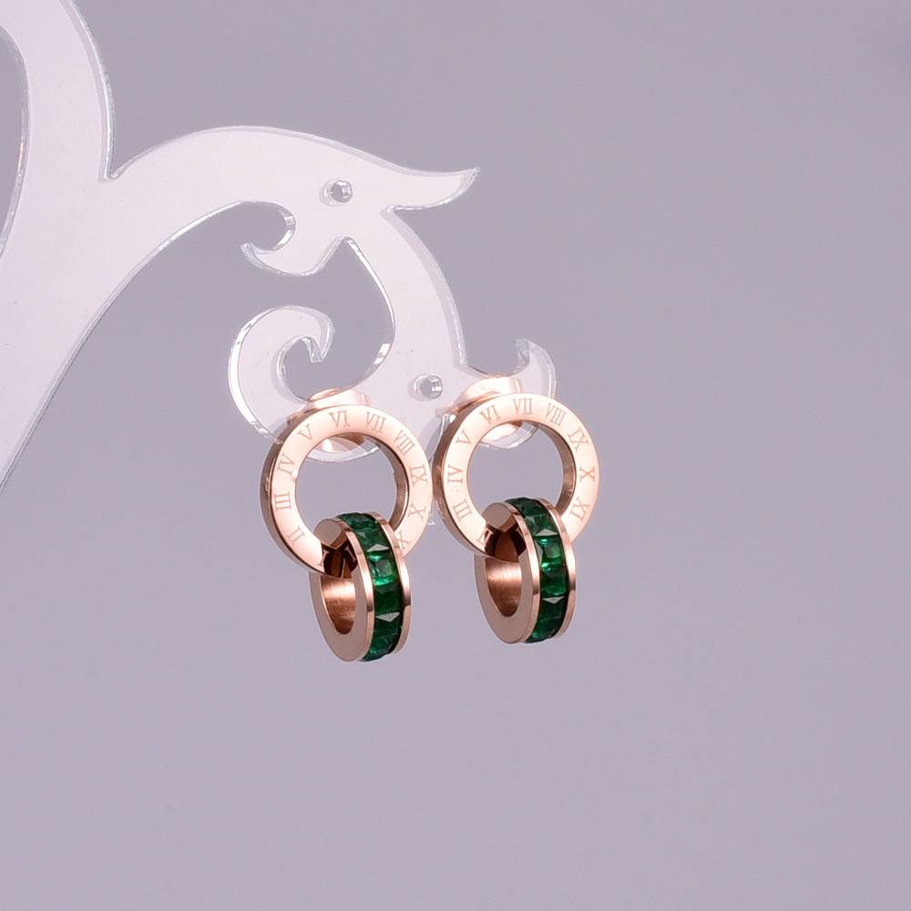 YUNRUO Cubic Zirconia Roman Number Earring Titanium Steel Rose Gold - Fashion Jewelry - Photo 5