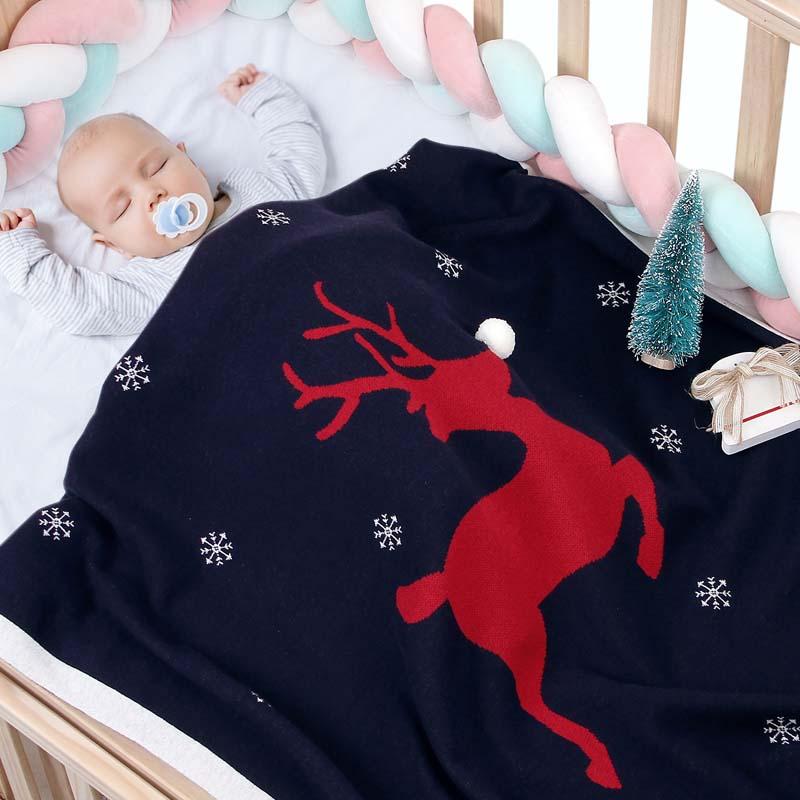 Christmas Elk Cotton Knit Baby Blankets Newborn Swadding Sleeping Bag For Girl Infant Crib Nap Children Air Conditioner Quilt