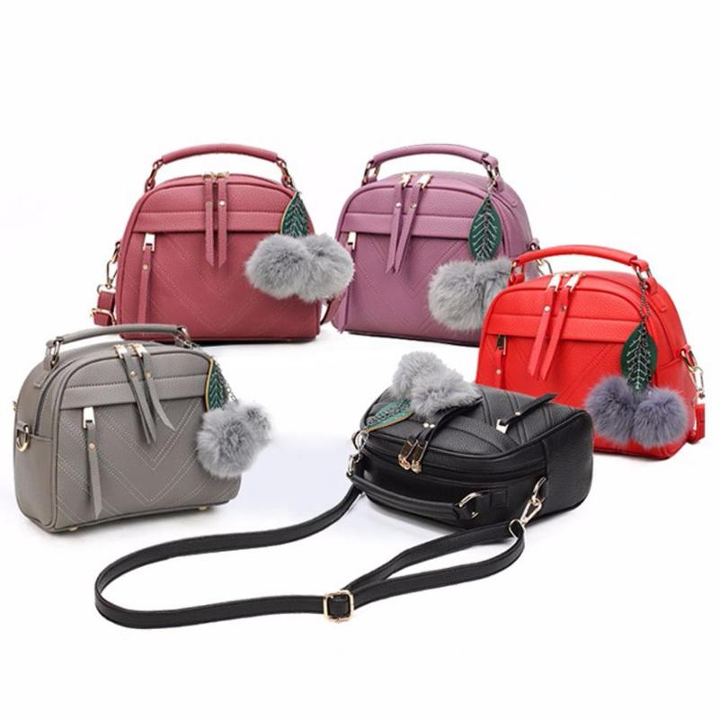 PU Leather Handbag For Women Girl Fashion Messenger Bags With Ball Toy Bolsa Female Shoulder Bags Ladies Party Handbags