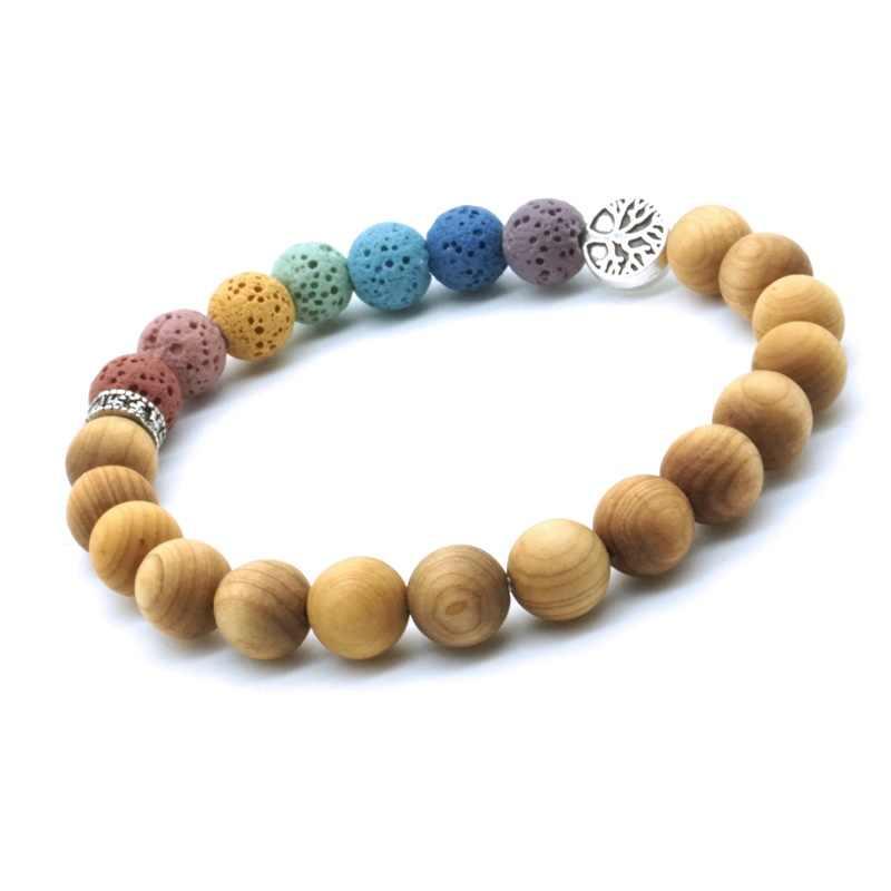 Houten Kralen Boom Van Leven 7 Chakra 'S 8Mm Kleurrijke Lava Steen Aromatherapie Etherische Olie Diffuser Armband Yoga Vrouwen Mannen sieraden