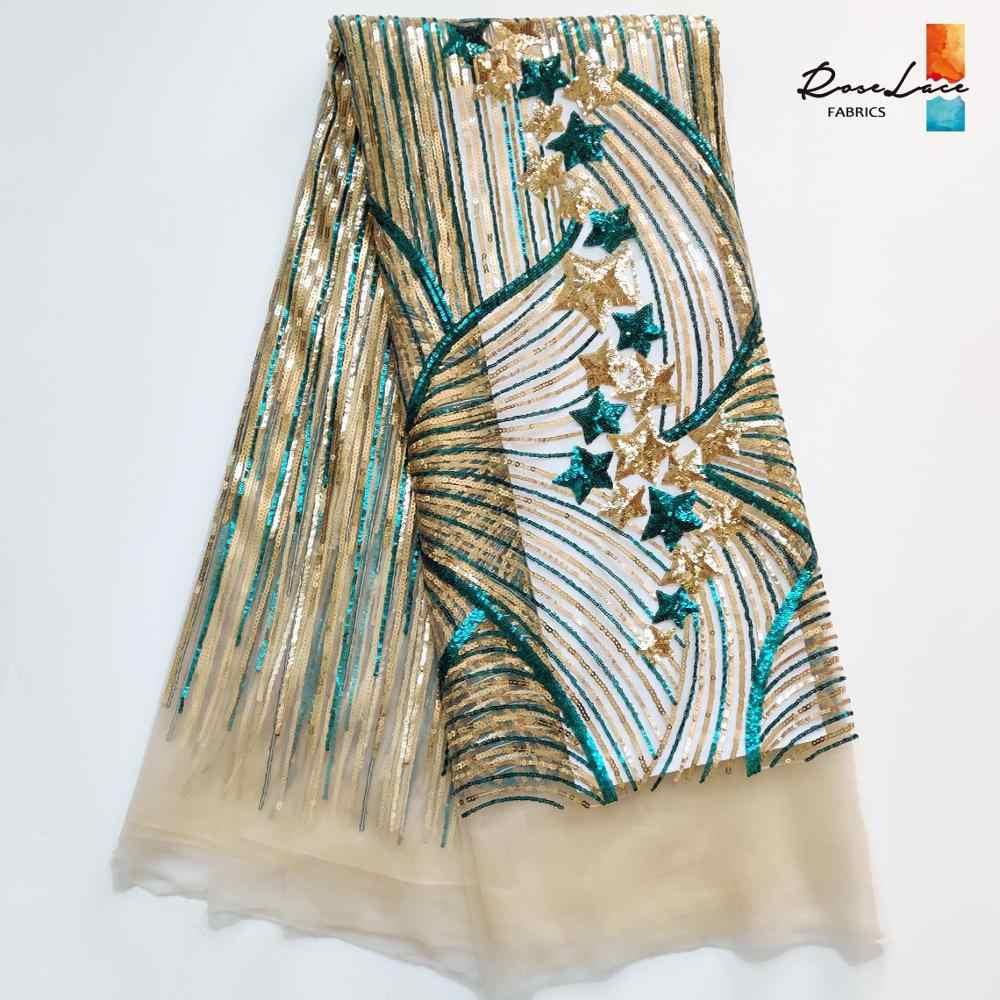 1 YARD ดาว Sequins แอฟริกาไนจีเรียสุทธิ Tulle ลูกไม้ผ้า Sequined ปัก PROM ชุดเจ้าสาวแต่งงาน Laces Sequined ผ้า