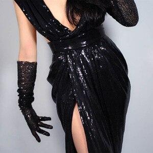 Image 3 - Сексуальные длинные черные перчатки с блестками для выпускного вечера, эластичные 1920 х годов, оперные перчатки для вечеринки, танцевальные перчатки для невесты и женщин, ST316