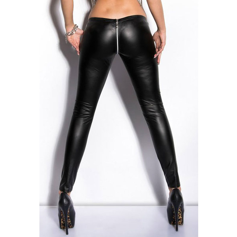Women Faux Leather Pants Zipper Open Crotch Punk Fitness Appeal Clothing Legging Capris Low Waist Fashion Sexy Beauty Trousers