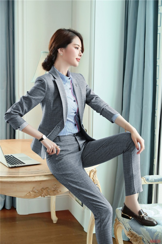Formal Business Suits With Pants And Jackets Coat For Women 2019 Spring Autumn Professional Office Work Wear Pantsuits Blazers