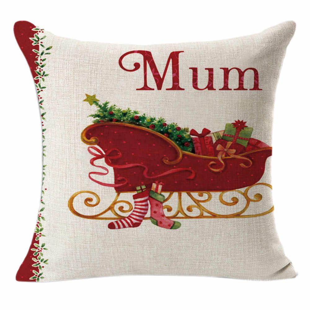 Kussensloop 2019 Creative Multi-patroon Kerst Linnen Plein Gooi Vlas Kussensloop Decoratieve Kussen Kid Gift Cover #45