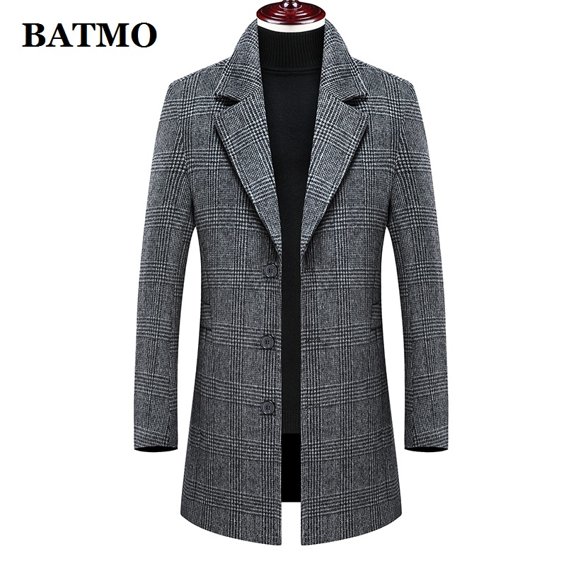 BATMO New Arrival Winter High Quality Wool Plaid Trench Coat Men,men's Wool Casual Jackets,plus-size M-4XL 898