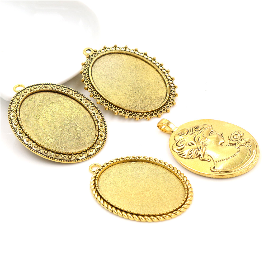 New Fashion 5pcs 30x40mm Inner Size 4 Style Antique Gold Color Fashion Style Cabochon Base Setting Pendant Tray