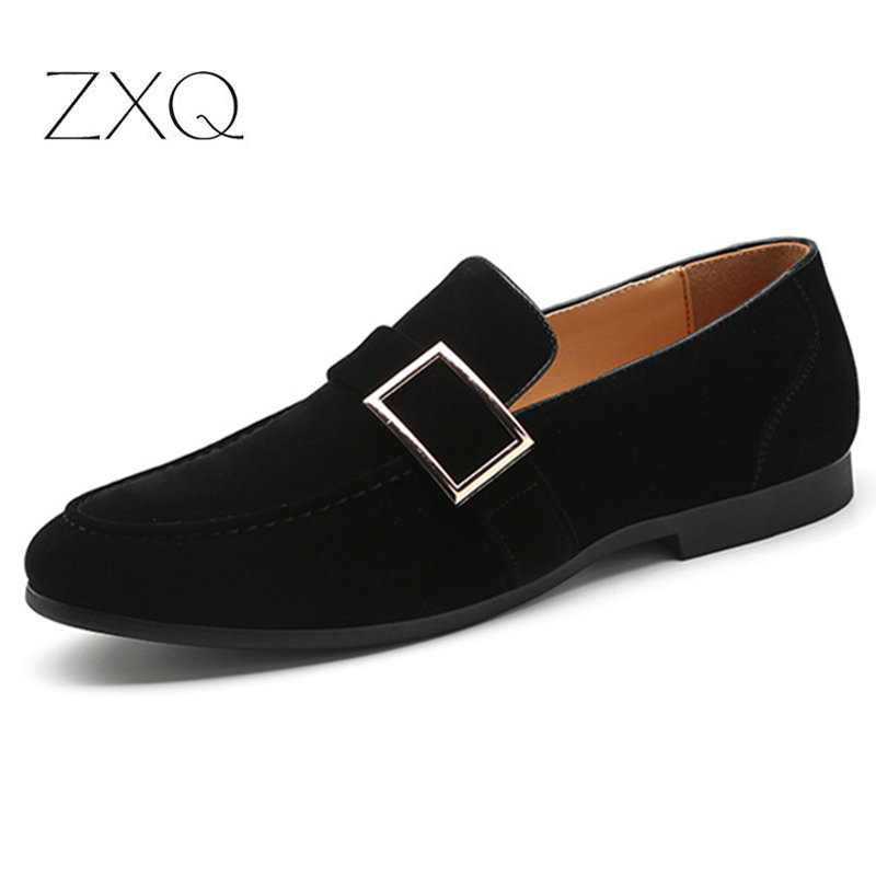 New Fashion Men Suede Leather Loafers Slip On Autumn With Buckle Men Casual Footwear Breathable Men Flat Shoes Leather Bag