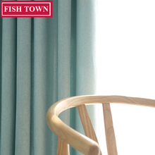 FISH TOWN Faux Linen 70%-85% Shading Custom Made Simple Small Point Style Solid Color Blackout Curtain For Living Room Window