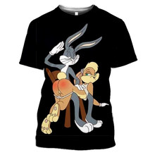 Summer new men's and women's shirts 3D printing cartoon anime anime rabbit short-sleeved children's fashion Harajuku casual hip-