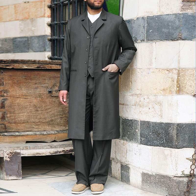 INCERUN 2020 Men Sets Solid Streetwear Long Sleeve Single Breasted Coats Elastic Waist Pants Elegant Muslim Mens Suit 2 Pieces 7